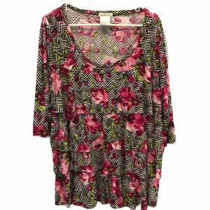 3/$30 Pink floral Rapture Wear blouse size 2x